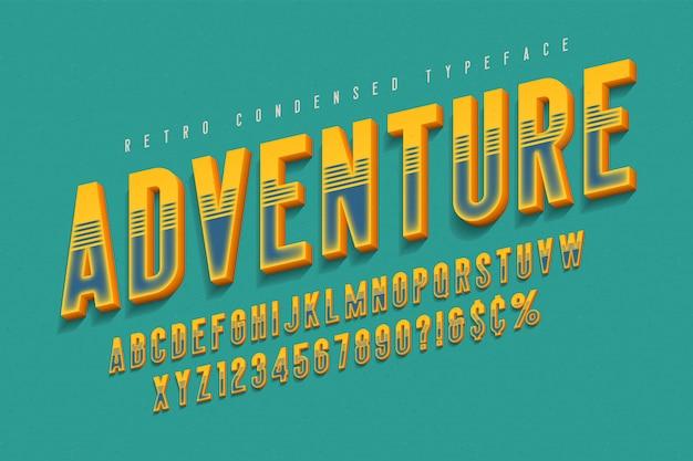 Design de fonte de exibição 3d condensada, alfabeto, letras