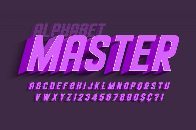 Design de fonte de exibição condensada, alfabeto, letras e números.