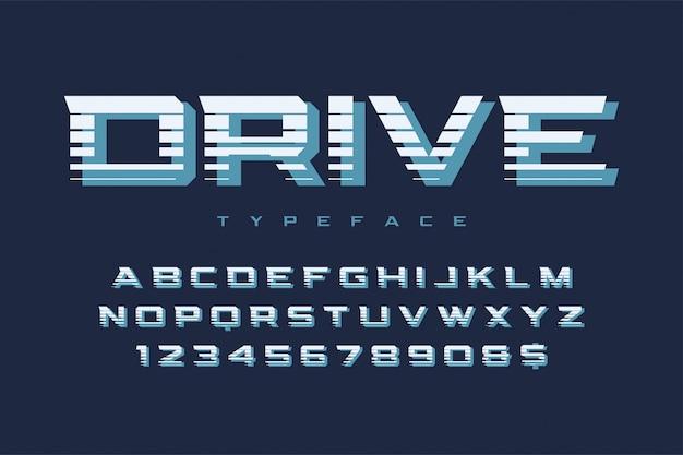Design de fonte de exibição de unidade, alfabeto, tipo de letra, letras e números