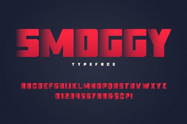 Design de fonte de exibição pesada smoggy, alfabeto, tipo de letra, letras e números