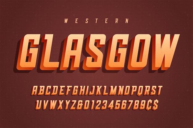 Design de fonte de exibição retrô 3d, alfabeto, tipo de letra, letras