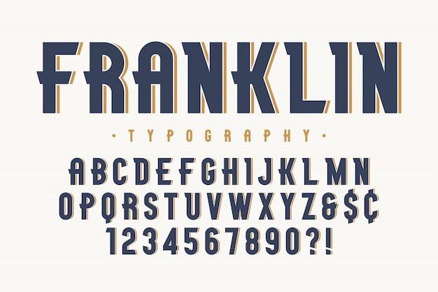 Design de fonte de exibição vintage franklin elegante