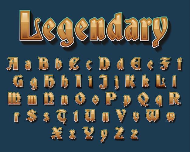 Design de fonte de tipografia medieval dourado
