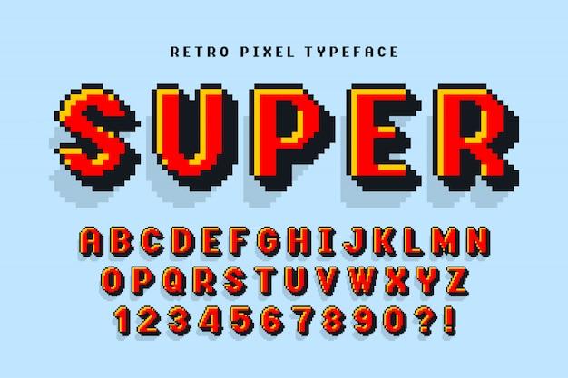 Design de fonte de vetor de pixel, estilizado como em jogos de 8 bits.
