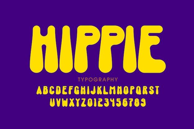 Design de fonte em estilo hippie, letras e números do alfabeto dos anos 60