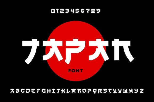 Design de fonte latina em estilo japonês, letras e números do alfabeto Vetor Premium