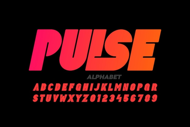 Design de fonte, letras do alfabeto e números modernos e arrojados