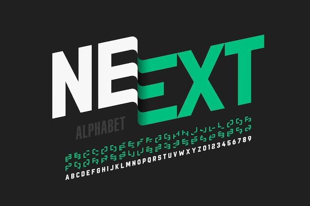 Design de fonte moderno com algumas letras, alfabeto e números alternativos