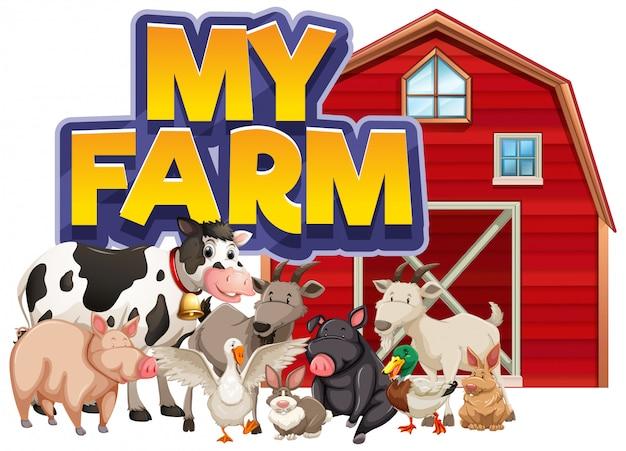 Design de fonte para a palavra minha fazenda com muitos animais de fazenda