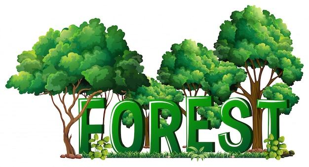 Design de fonte para floresta de palavra