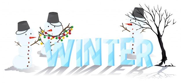 Design de fonte para inverno de palavra