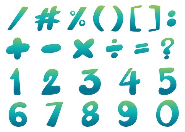 Design de fonte para números e sinais em azul