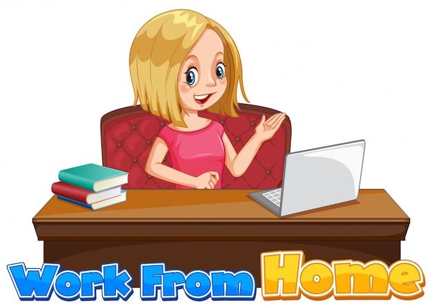Design de fonte para trabalhar em casa com uma mulher trabalhando no computador