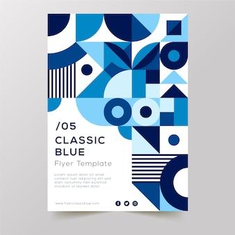 Design de formas clássicas azuis e fundo branco com panfleto de texto