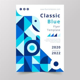 Design de formas clássicas azuis e fundo branco com poster de texto
