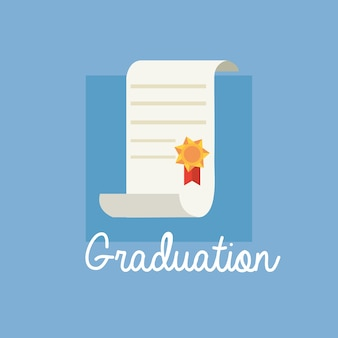 Design de formatura com ícone de diploma