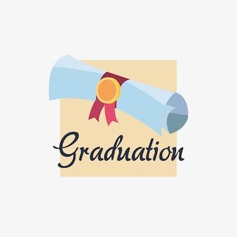 Design de formatura com ícone de rolo de diploma