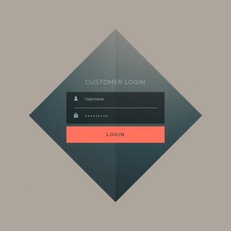 Design de formulário de login do cliente com nome de utilizador e palavra-passe