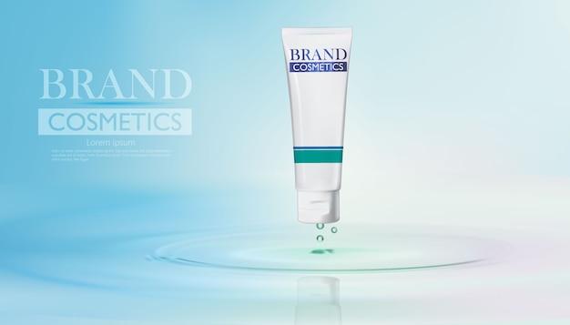 Design de frasco cosmético para a pele com água.