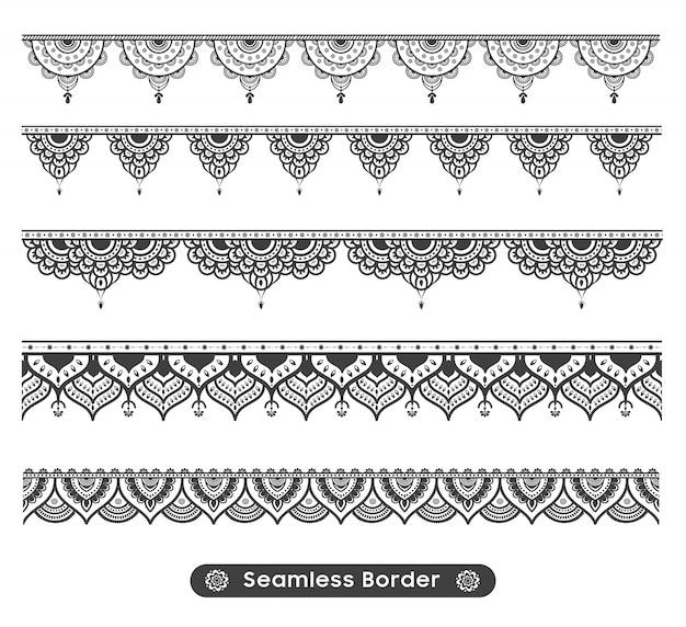 Design de fronteira de mandala étnica de vetor