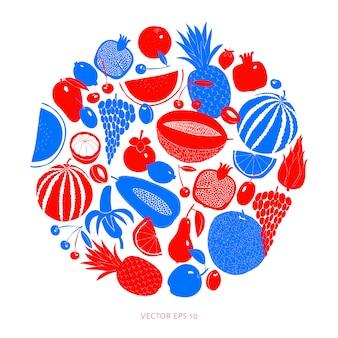 Design de fruta desenhada mão escandinavo. ilustrações vetoriais. estilo linogravura. comida saudável.