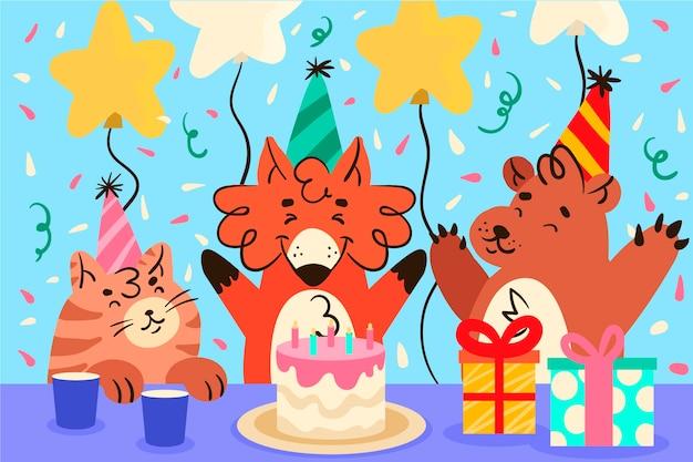 Design de fundo aniversário com presentes
