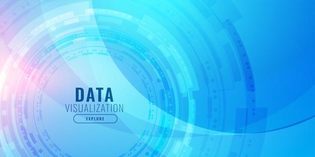 Design de fundo azul futurista de visualização de tecnologia
