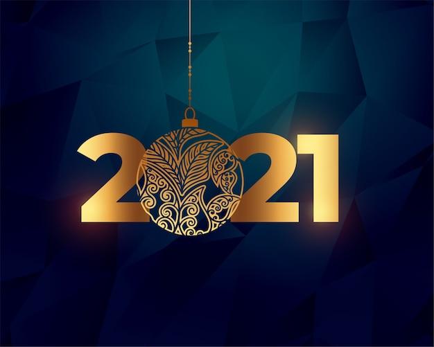 Design de fundo brilhante feliz ano novo dourado 2021