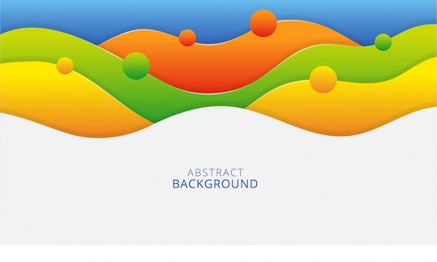 Design de fundo colorido papercut elegante formas onduladas abstratas