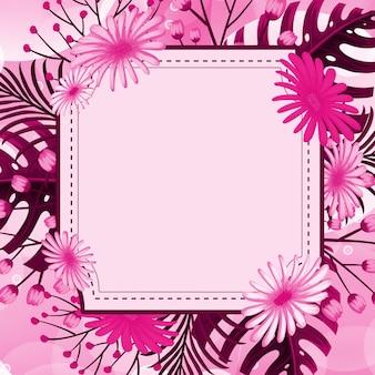 Design de fundo com moldura de flor rosa