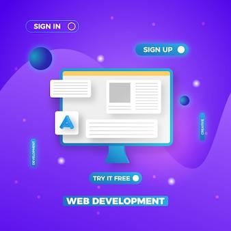 Design de fundo de apresentação de conceito de desenvolvimento web