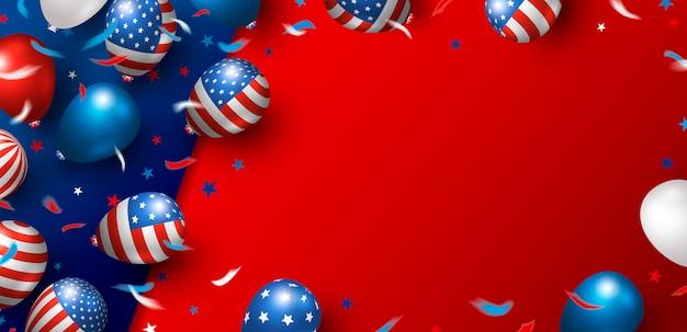 Design de fundo de banner eua de balões