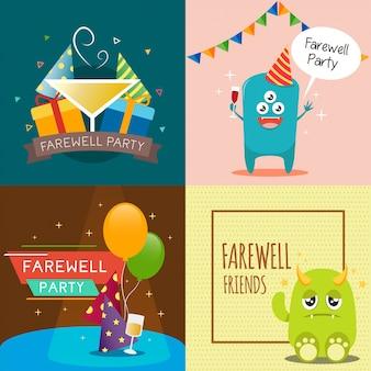 Design de fundo de cartão de festa de despedida