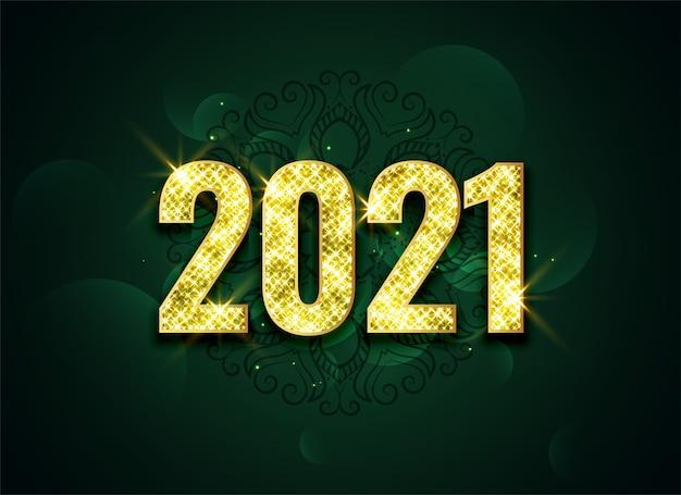 Design de fundo de celebração dourada de lindos brilhos 2021