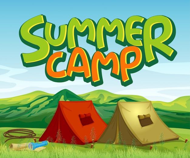 Design de fundo de cena com acampamento de verão da palavra