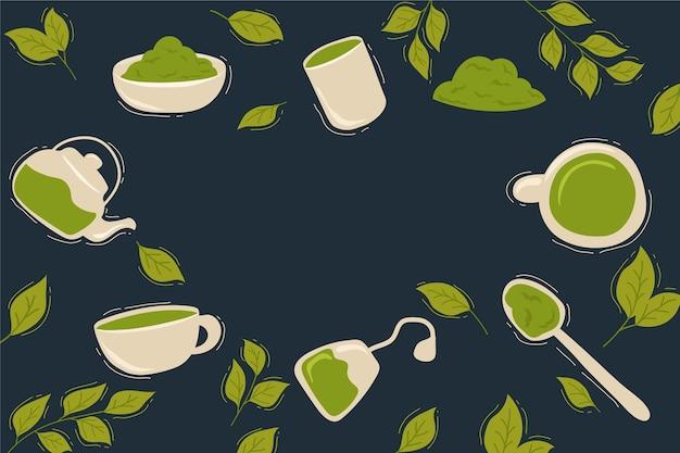 Design de fundo de chá matcha