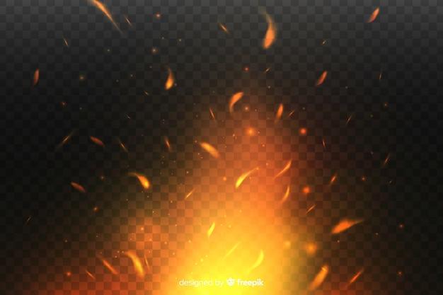 Design de fundo de efeito de faíscas de fogo