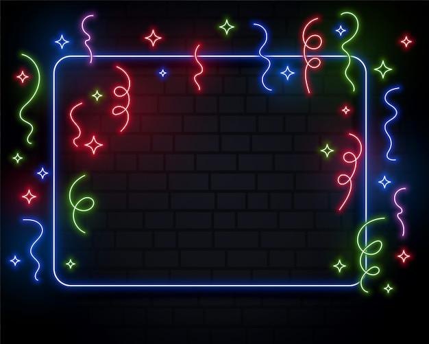 Design de fundo de evento de celebração de confetes de luzes de néon