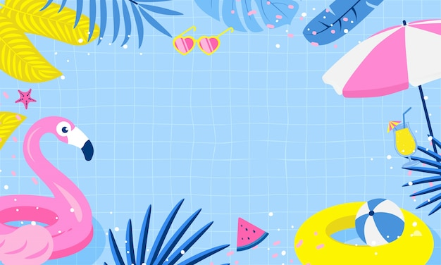 Design de fundo de festa na piscina de verão