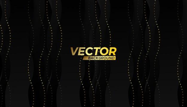 Design de fundo de fluxo de meio curso vector ouro