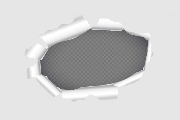 Design de fundo de folha de papel rasgado página buraco