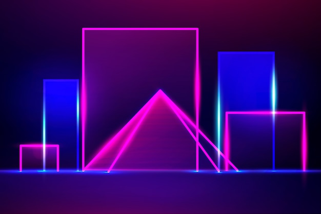 Design de fundo de luzes de néon de formas geométricas