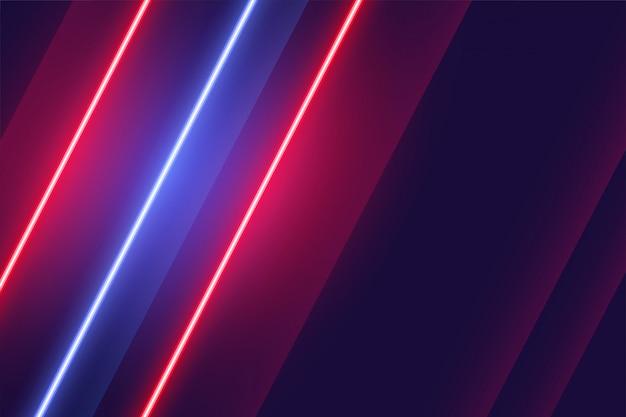 Design de fundo de luzes linear de néon vermelho e azul