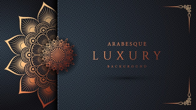Design de fundo de mandala ornamental de luxo com arabescos dourados e moldura de canto floral estilo oriental islâmico árabe