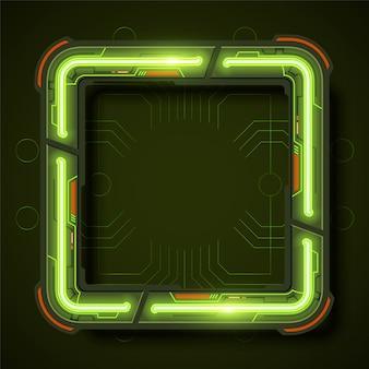 Design de fundo de moldura quadrada de tecnologia em estilo neon