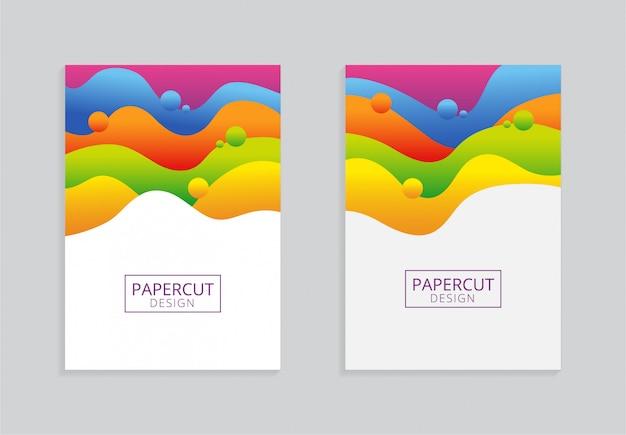 Design de fundo de papel a4 colorido com estilo papercut
