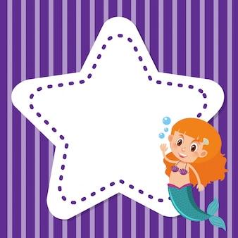 Design de fundo de quadro com sereia e estrela