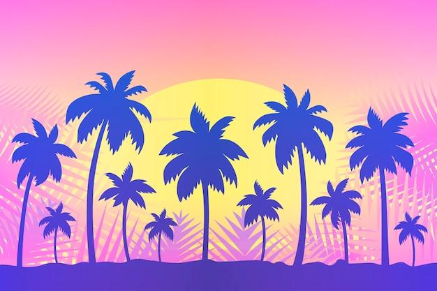 Design de fundo de silhuetas de palma