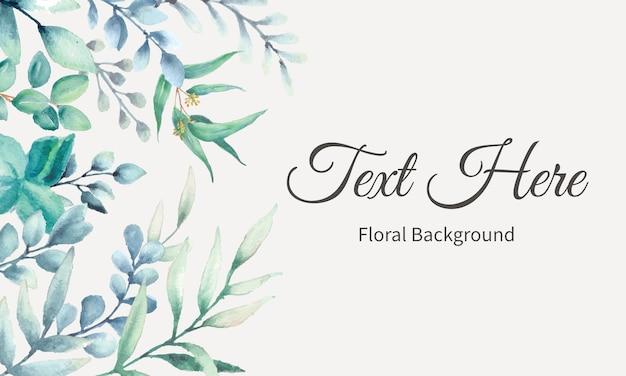 Design de fundo elegante com folhas em aquarela