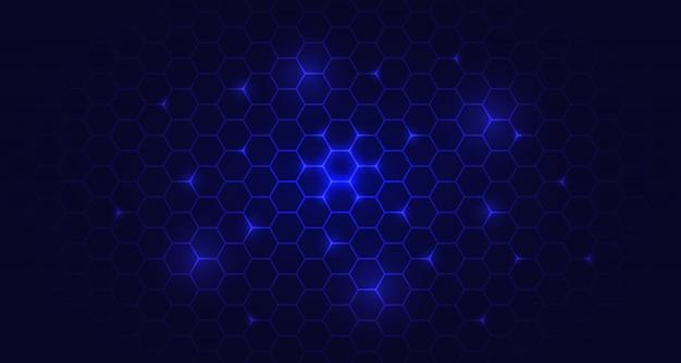 Design de fundo hexágono azul brilho futurista